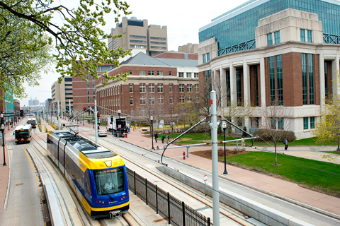Light rail transit in heart of U of M campus