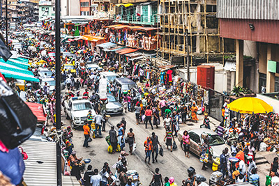 Downtown Lagos with a lot of people in the street