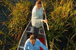 Native American women in boat