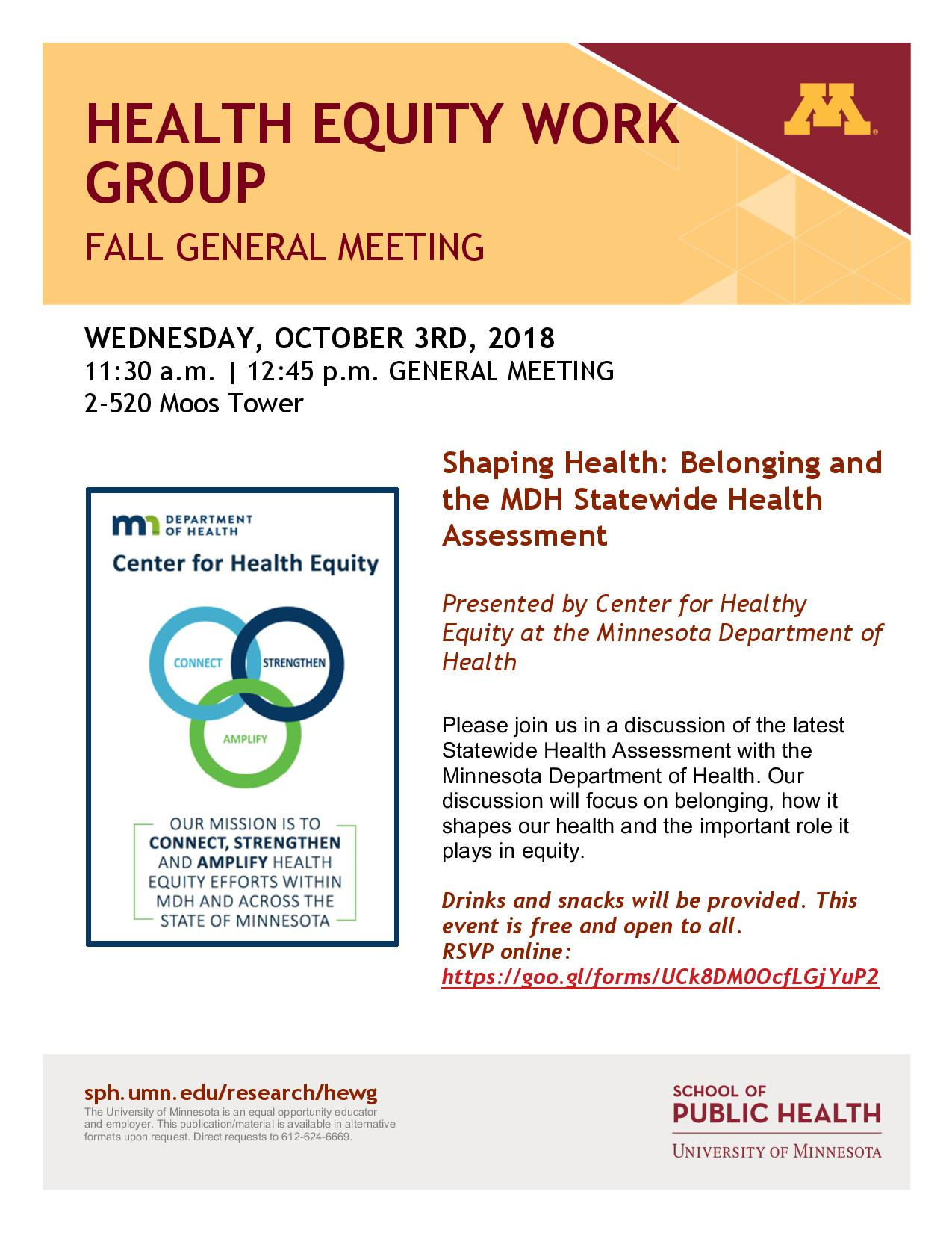 Welcome: HEWG Fall General Meeting! - School of Public Health