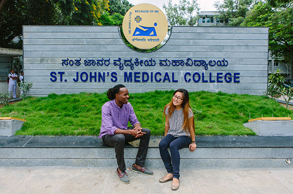 Williams and Jang outside St. John's Medical College, which was established in 1963 and provides opportunities to SPH students through the AHC's Center for Global Health and Social Responsibility.