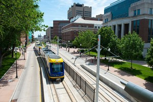 light rail by University of Minnesota campus