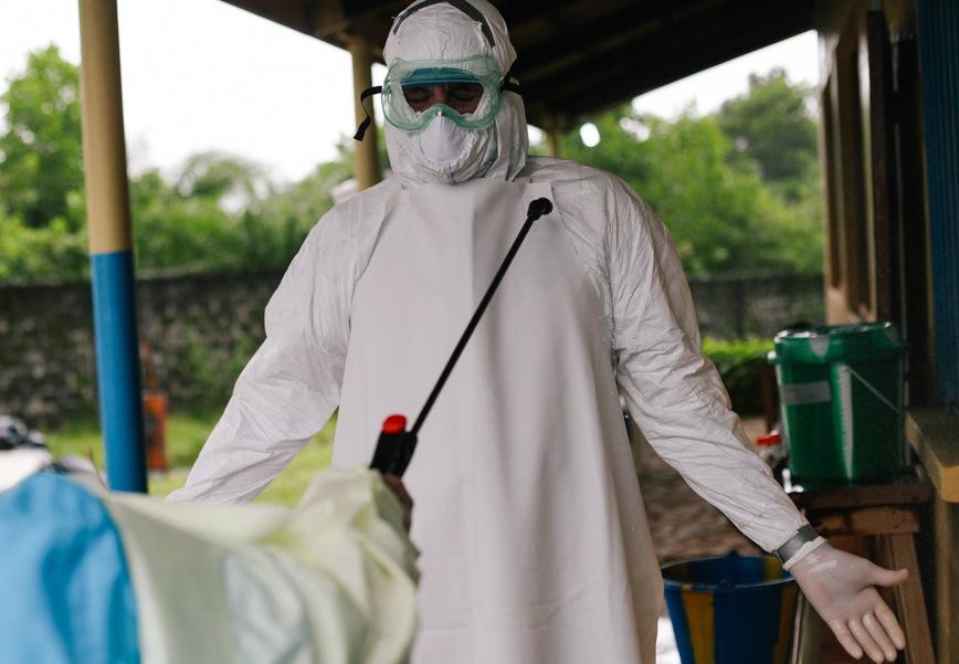 Dr. John Fankhauser working in Ebola treatment units in Liberia.