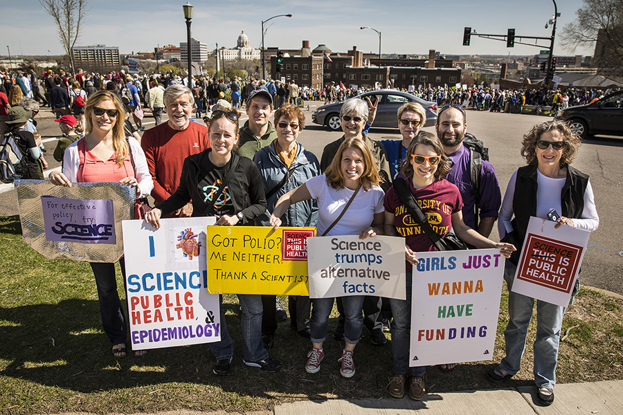 School of Public Health faculty, staff, and students at the March for Science in St. Paul, Minn on April 22