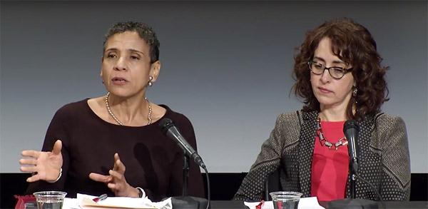 Women speaking on panel