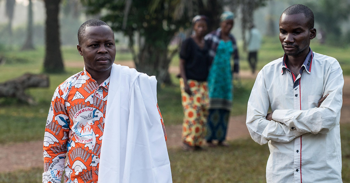 Ebola survivors walking outside.