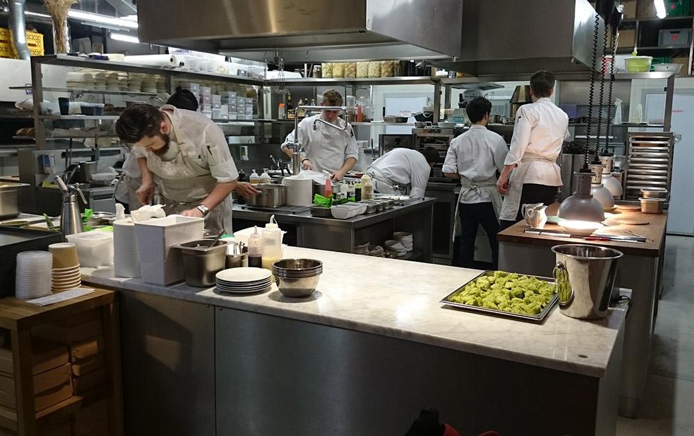 A busy restaurant kitchen.