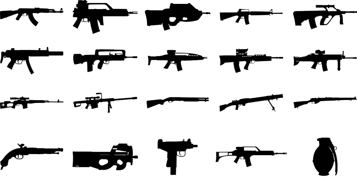 Drawings of different guns.