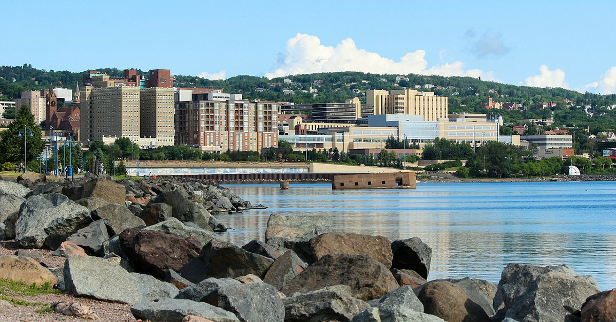 A view of Duluth Harbor from Lake Superior.