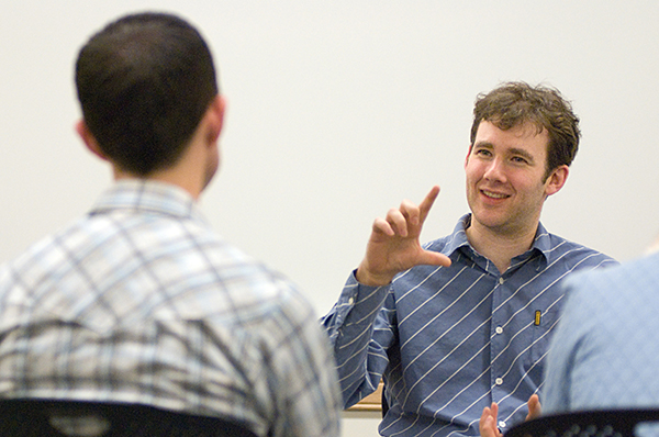 Biostatistics professor Julian Wolfson with student