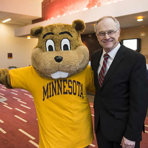 Dean John Finnegan and Goldy Gopher