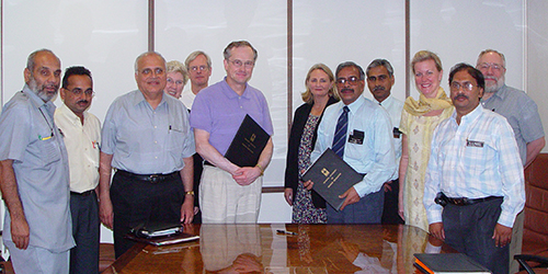 Dean John Finnegan and SPH colleagues celebrate the signing of an affiliation agreement with Dr. R.S. Phaneedra Rao and faculty members from the Manipal Academy of Higher Education in India.