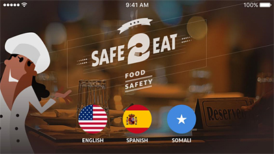 A draft screenshot of the Safe 2 Eat app being developed by Craig Hedberg and Farhiya Farah.