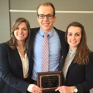 2016 OSU Case Competition winners, MHA students Callie Heyne, Joseph White, and Tyne Alexander.