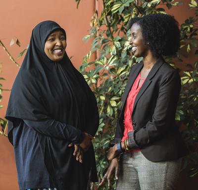 Amina Aden and Amira Adawe talking