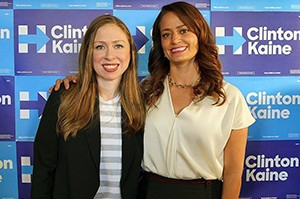 Regan Gonzalez with Chelsea Clinton at the Unidos Votamos Get out the Vote Rally