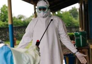 Dr. John Fankhauser working in Ebola treatment units in Liberia.